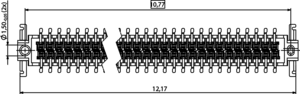 Abmessungen One27 Federleiste gerade H6,25 12-polig