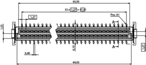 Abmessungen One27 Federleiste gerade H9,05 68-polig