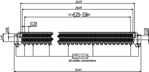 Abmessungen One27 Federleiste abgewinkelt 32-polig