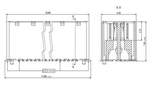 Abmessungen Zero8 Socket gerade ungeschirmt 32-polig