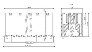 Abmessungen Zero8 Socket gerade ungeschirmt 80-polig