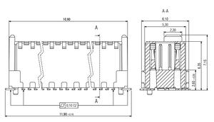 Abmessungen Zero8 Plug ungerade geschirmt 20-polig