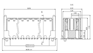 Abmessungen Zero8 Plug gerade ungeschirmt 52-polig