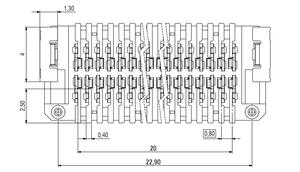 Abmessungen Zero8 Socket gerade ungeschirmt 52-polig