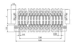 Abmessungen Zero8 Plug gerade ungeschirmt 20-polig