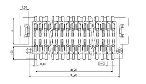 Abmessungen Zero8 Plug gerade ungeschirmt 80-polig