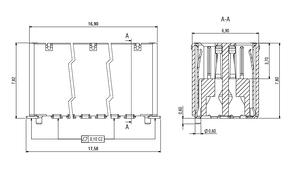 Abmessungen Zero8 Socket gerade geschirmt 32-polig