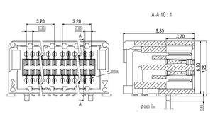 Abmessungen Zero8 Socket gewinkelt ungeschirmt 20-polig