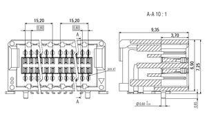 Abmessungen Zero8 Socket gewinkelt ungeschirmt 80-polig