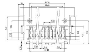 Abmessungen Zero8 Socket gewinkelt geschirmt 80-polig